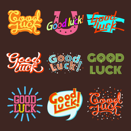 Good luck text farewell vector lettering with lucky phrase background greeting typography. Vector Illustration