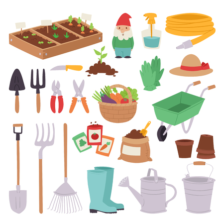 Gardening icon set agriculture design spring nature environment ecology tool garden vector illustration Illustration