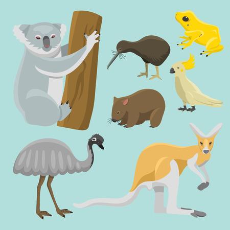 Australia wild animals cartoon popular nature characters flat style mammal collection vector illustration.
