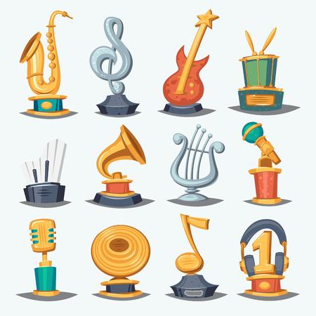 Cartoon music award statuette entertainment winner top artist achievement prize vector illustration. Ilustração Vetorial