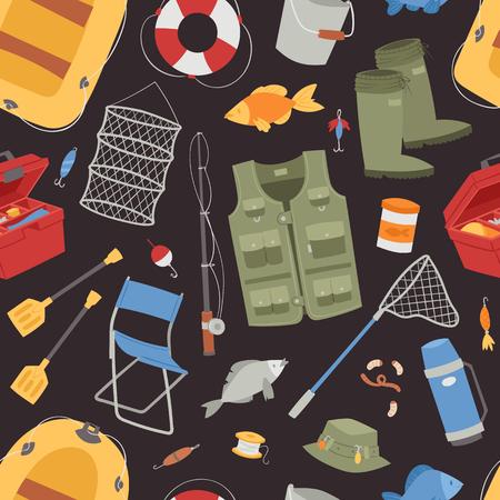 tackle box: Fishing outdoor vacation fun activity seamless pattern fishery hobby design vector illustration.