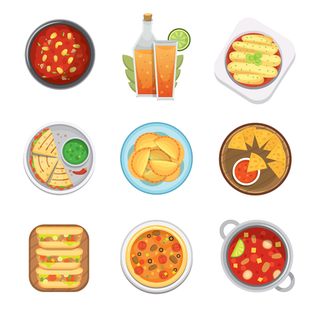 chips and salsa: Mexican traditional food top view plates isolated a lunch sauce cuisine vector illustration Illustration