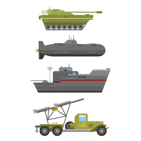 technic: Military technic army war transport fighting industry technic armor defense vector collection