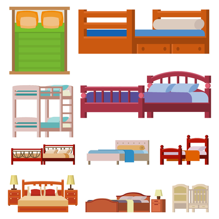bunk bed: A Vector bed icon set interior home rest collection sleep furniture comfortable night illustration.