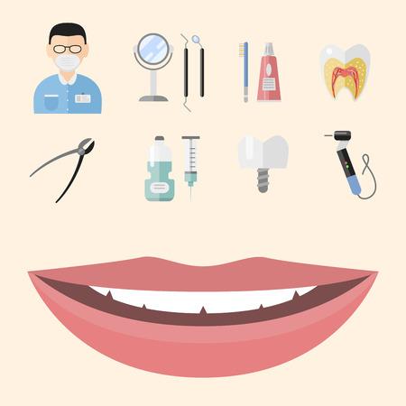 Flat health care dentist medical tools medicine instrument hygiene stomatology vector illustration.