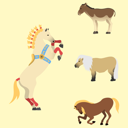 foal: Horse, pony, stallion - isolated different breeds, color. Farm equestrian animal characters vector illustration.