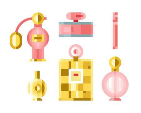 Perfume glamour fashionable beautiful bottle female packaging tube illustration.