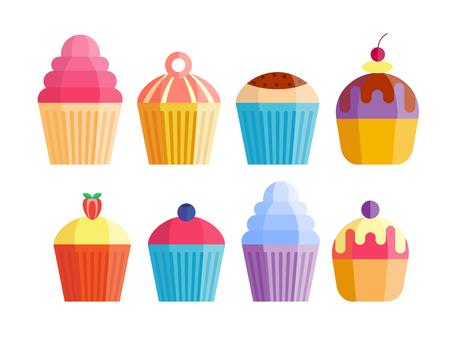 cupcake illustration: Party cake food dessert sweet cream celebration happy birthday surprise decoration event vector. Illustration