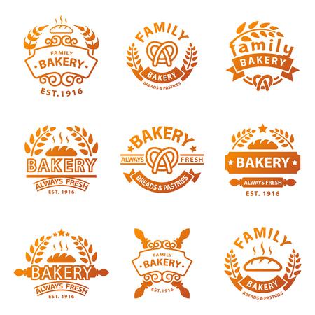 cupcake illustration: Bakery gold badge icon fashion modern style wheat vector retro food label design element isolated. Illustration