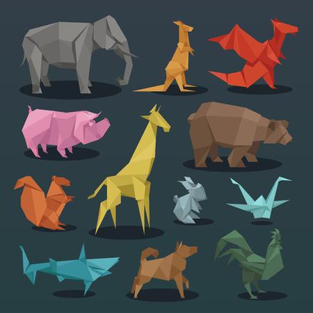 Animals origami set of wild animals creative decoration vector illustration.