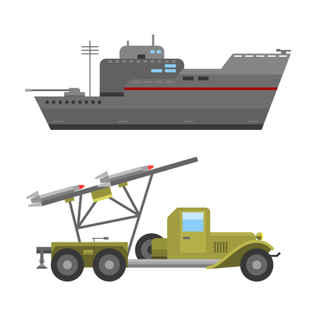 technic: Military technic army war tanks and industry technic armor defense vector collection. Transportation weapon technic exhibition international fighting conflict weaponry system. Illustration