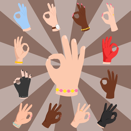 okey: Ok hands success gesture and okey yes agreement signal business human agree best approval accept. Silhouette of human body part showing symbol of all ok vector character.