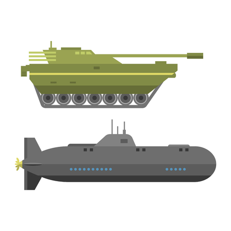Military technic army war tanks and industry technic armor defense vector collection