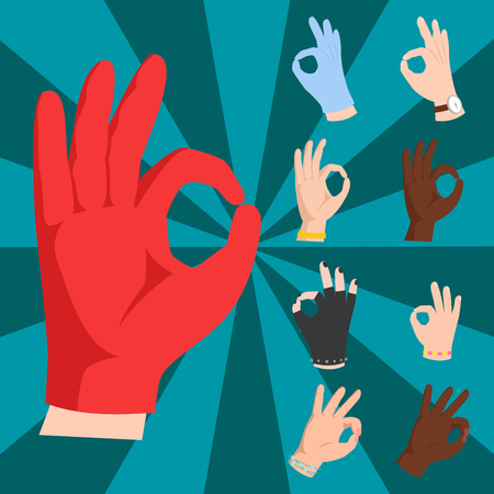 okey: Ok hands success gesture okey yes agreement signal business human agree best approval vector. Illustration