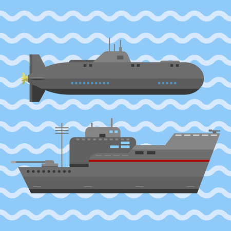 Military technic army war ship and industry technic armor defense fighting conflict vector Illustration