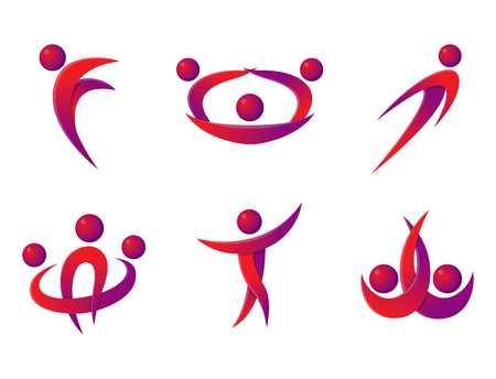 the performer: Silhouette abstract people performance character logo human figure pose vector illustration.