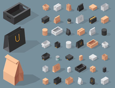 Different box vector isometric icons isolated move service or gift container packaging illustration Illustration