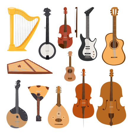 cellos: Stringed musical instruments classical orchestra tool equipment vector illustration isolated on white