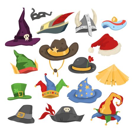 Different funny holiday carnival hats for party and masquerade celebration traditional vector illustration Illustration