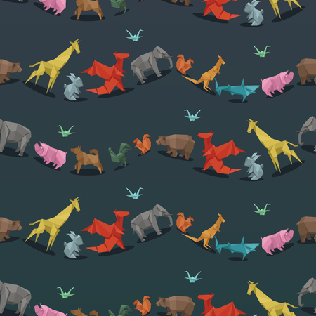 dog shark: Origami wild paper animals creative decoration vector illustration seamless pattern