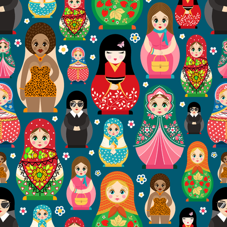 matriosca: Traditional Russian doll Matryoshka toy nesting vector illustration with human girl cute face seamless pattern background