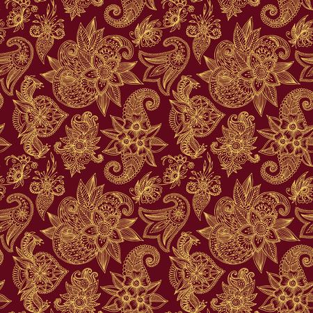 Mehendy golden flower seamless pattern design tracery vector illustration floral bacground