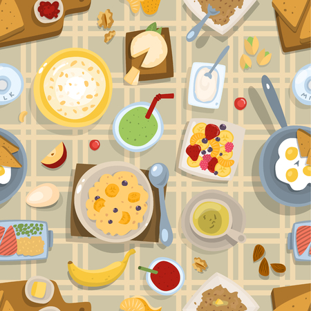 Healthy eating breakfast lunch meal concept with fresh salad bowls on kitchen wooden worktop top view vector seamless pattern background Stock Illustratie