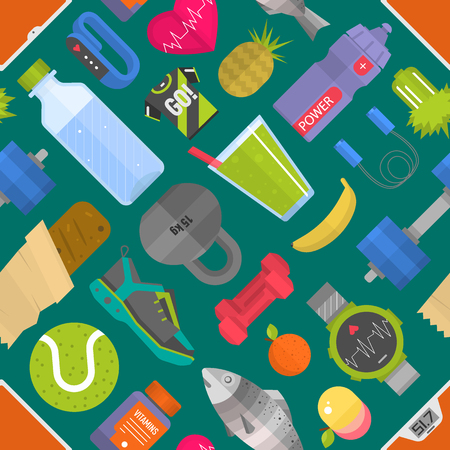 plate: Seamless pattern composed from icons representing healthy lifestyle sport background vector illustration