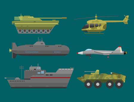 howitzer: Military technic army war transport fighting industry technic armor defense vector collection