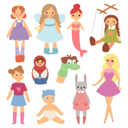 若者のファッションの服の文字ゲーム ドレス服子供のころさまざまな人形ベクトル イラスト