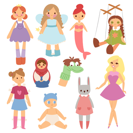 Different dolls fashion young clothes character game dress clothing childhood vector illustration Vettoriali