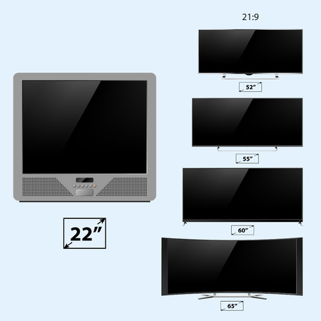 lcd tv: TV screen lcd monitor template electronic device technology digital device display vector illustration.