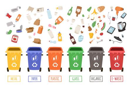 Waste management concept segregation separation garbage cans sorting recycling disposal refuse bin vector illustration