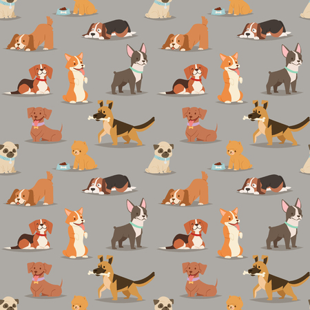 Different dogs breed cute cub puppy whelp characters seamless pattern background. Flat dogs breed vector icon illustration
