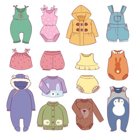 Set of seasonal infant clothes for kids babyish fashion infantile puerile clothes vector illustration. Cartoon garment outerwear wardrobe apparel costume. Illustration