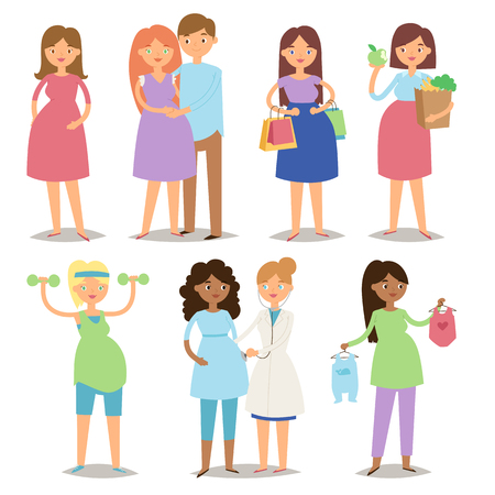 awaiting: Pregnancy motherhood people and expectation concept happy pregnant woman character life with big belly vector illustration