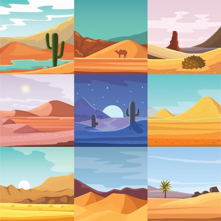 Desierto de las montañas de arenisca desierto paisaje de fondo seco bajo el sol caliente duna paisaje de viajes ilustración vectorial. Ilustración de vector