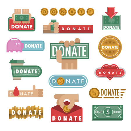 Donate buttons vector illustration help icon donation contribution charity philanthropy hands symbols and website gift support.