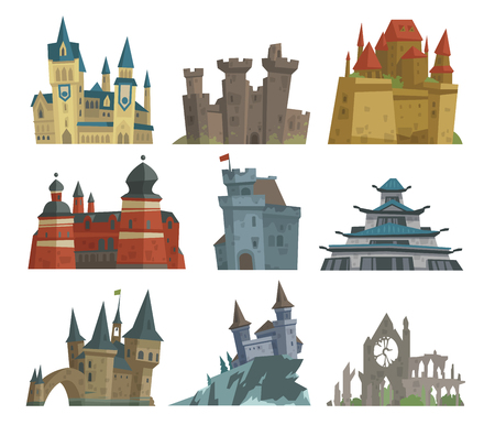 keystone: Cartoon fairy tale castle key-stone palace tower icon scarry knight medieval architecture building vector illustration. Illustration