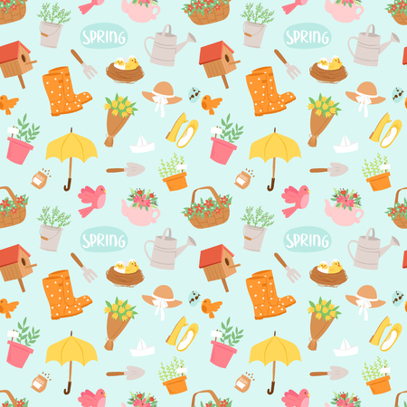 Spring and summer nature symbols and gardening tools seamless pattern background vector illustration