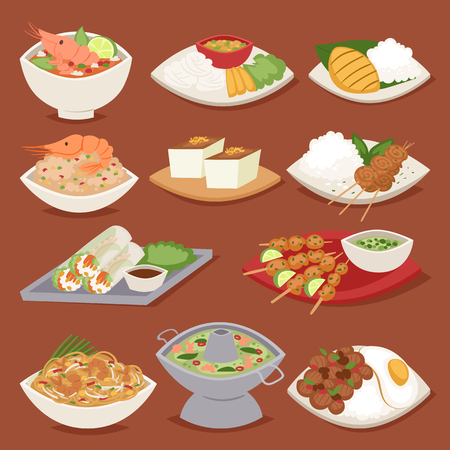 Traditional thai food asian plate cuisine thailand seafood prawn cooking delicious vector illustration. Stock Vector - 78986928