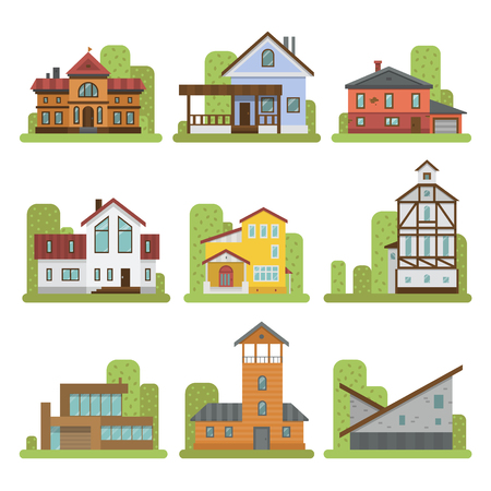 distinctive: Historical city modern world most visited famous distinctive house building front face facade set for tourists cartoon architecture vector illustration. Cottage residential construction cityscape. Illustration