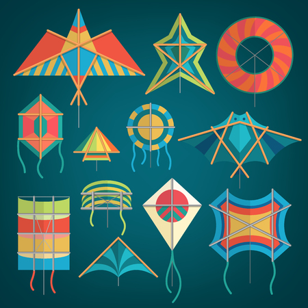 Flying kite snake serpent dragon kids toy colorful silhouette collection isolated outdoor summer activity vector illustration