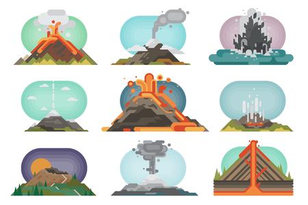 Volcán magma naturaleza volando con humo erupción volcánica lava montaña ilustración vectorial