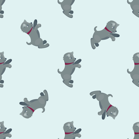 labrador: Vector illustration cute dogs characters seamless pattern purebred puppy comic smile happy mammal breed