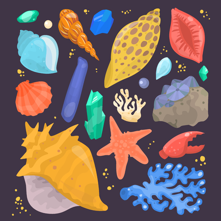 mollusk: Sea shells marine cartoon clam-shell and ocean starfish coralline vector illustration isolated