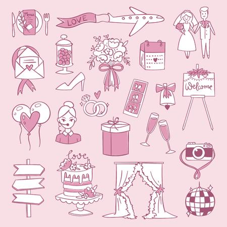wedding reception decoration: Wedding reception ceremony day outline agency icons celebration set vector illustration