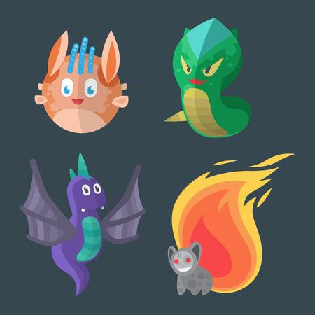 bacteria cartoon: Funny cartoon monster cute alien character creature happy illustration devil colorful animal vector.