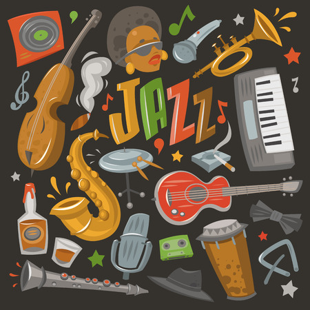 Jazz musical instruments tools icons jazzband piano, saxophone music sound vector illustration