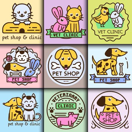 dog: Pet badge vector graphic sticker set domestic insignia cat dog veterinary animal sticker illustration
